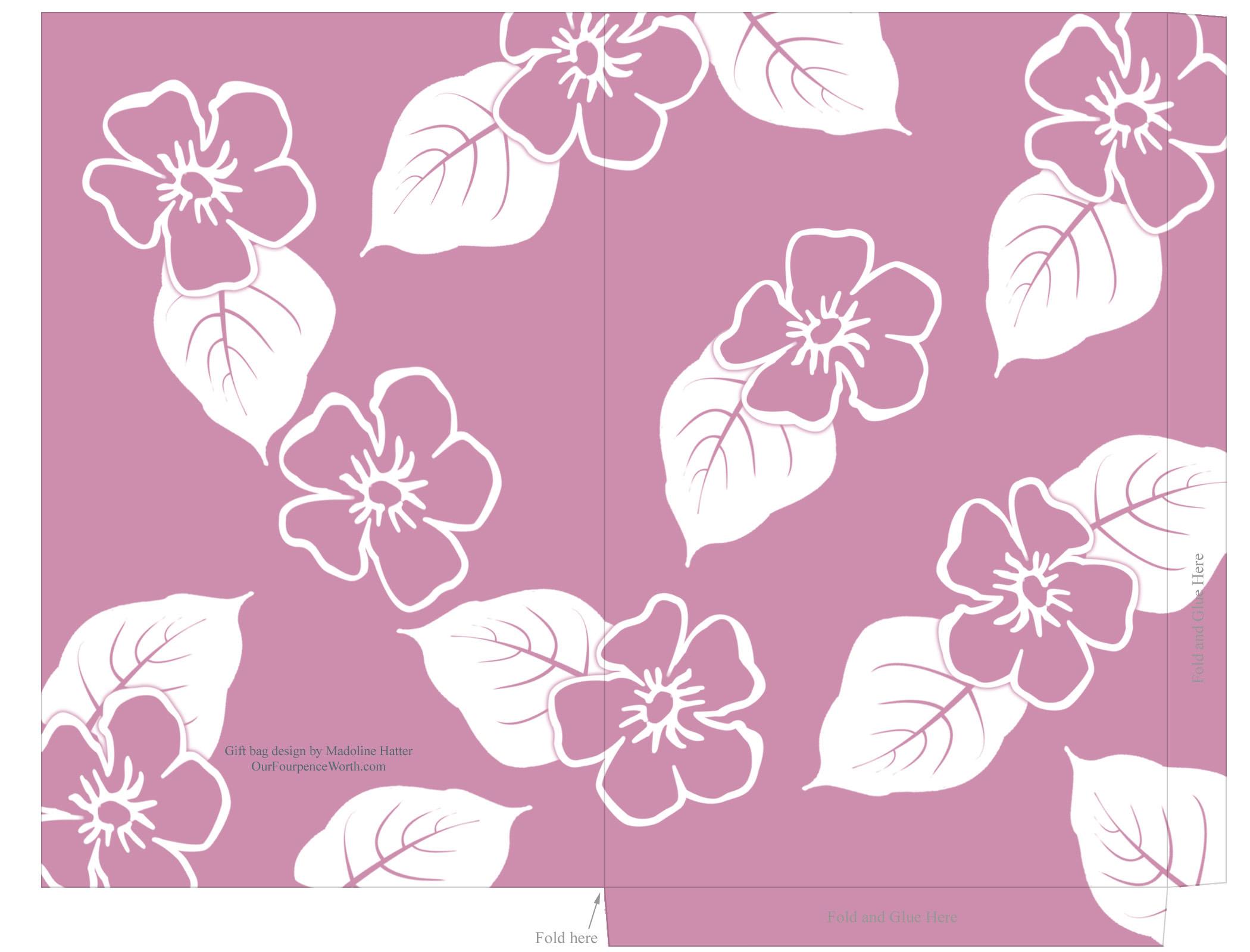 ハワイアン柄、紙袋用素材